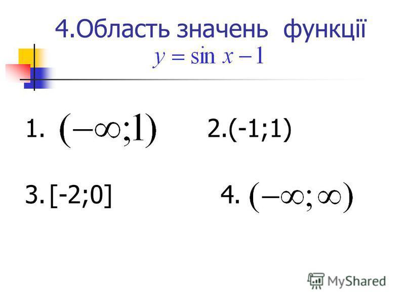 4.Область значень функції 1. 2.(-1;1) 3. [-2;0] 4.