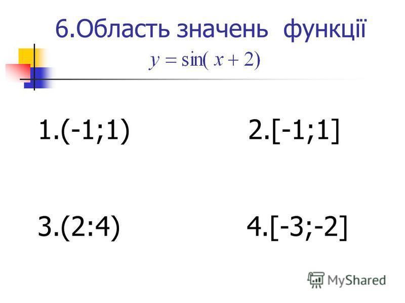 6.Область значень функції 1.(-1;1) 2.[-1;1] 3.(2:4) 4.[-3;-2]