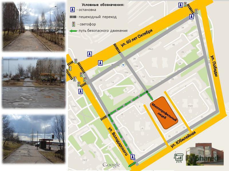 Условные обозначения: - остановка - пешеходный переход - светофор - путь безопасного движения