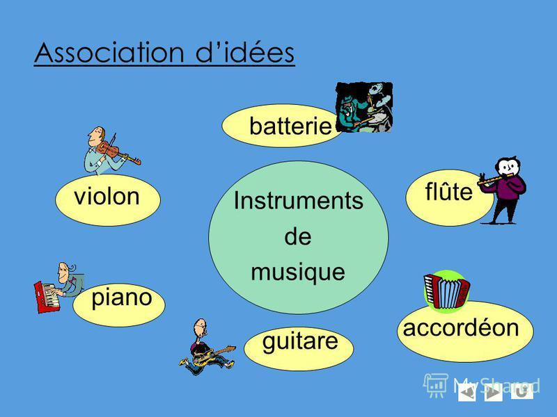 Association didées violon Instruments de musique piano guitare flûte batterie accordéon
