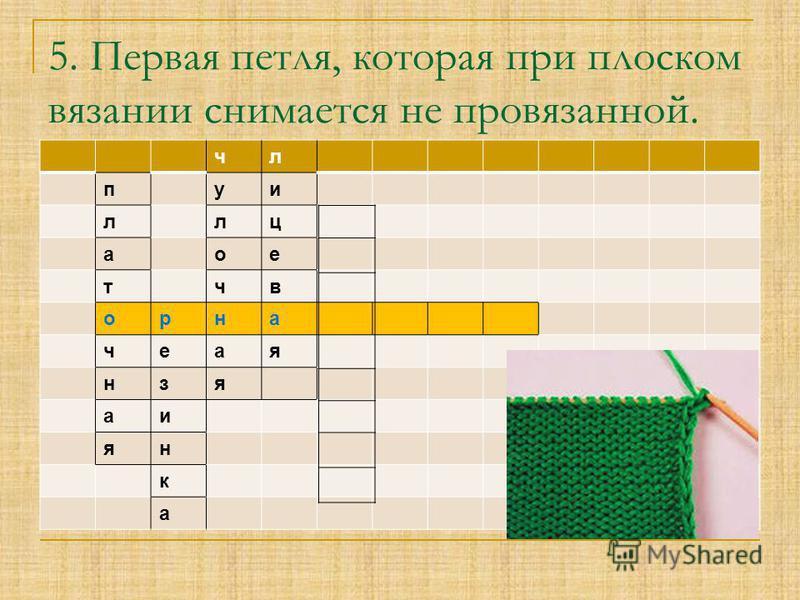 чл пути лиц аое тчв орна чекая нзя аи ян к а 5. Первая петля, которая при плоском вязании снимается не провязанной.