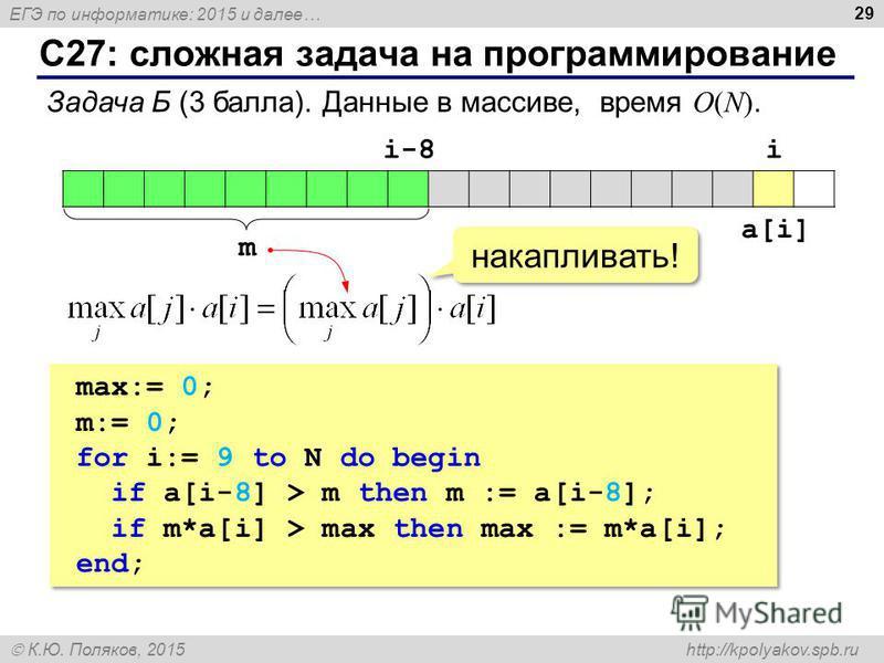 ЕГЭ по информатике: 2015 и далее… К.Ю. Поляков, 2015 http://kpolyakov.spb.ru С27: сложная задача на программирование 29 Задача Б (3 балла). Данные в массиве, время O(N). ii-8 m a[i] накапливать! max:= 0; m:= 0; for i:= 9 to N do begin if a[i-8] > m t