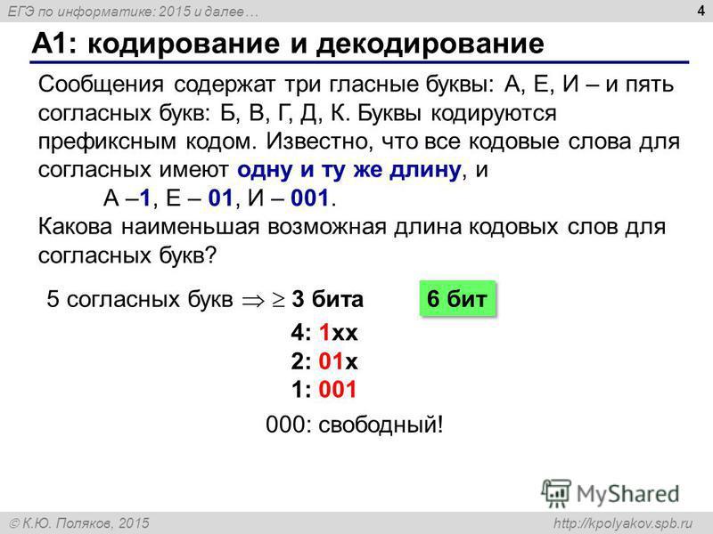 ЕГЭ по информатике: 2015 и далее… К.Ю. Поляков, 2015 http://kpolyakov.spb.ru A1: кодирование и декодирование 4 Сообщения содержат три гласные буквы: А, Е, И – и пять согласных букв: Б, В, Г, Д, К. Буквы кодируются префиксным кодом. Известно, что все