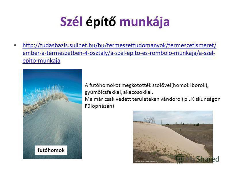 Szél építő munkája http://tudasbazis.sulinet.hu/hu/termeszettudomanyok/termeszetismeret/ ember-a-termeszetben-4-osztaly/a-szel-epito-es-rombolo-munkaja/a-szel- epito-munkaja http://tudasbazis.sulinet.hu/hu/termeszettudomanyok/termeszetismeret/ ember-