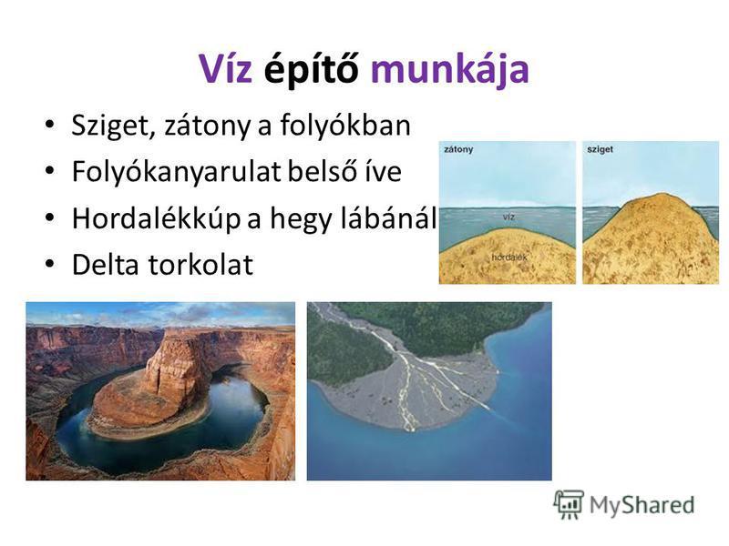 Víz építő munkája Sziget, zátony a folyókban Folyókanyarulat belső íve Hordalékkúp a hegy lábánál Delta torkolat