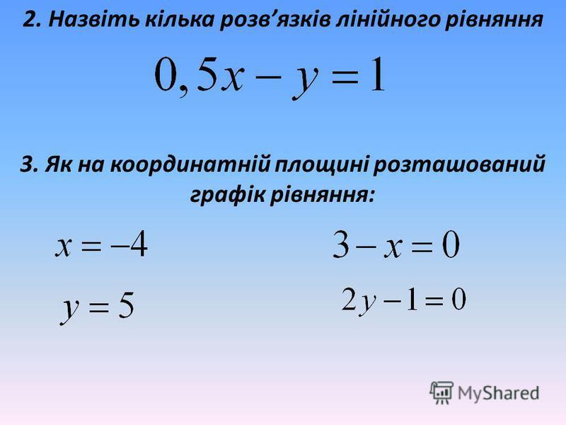 2. Назвіть кілька розвязків лінійного рівняння 3. Як на координатній площині розташований графік рівняння: