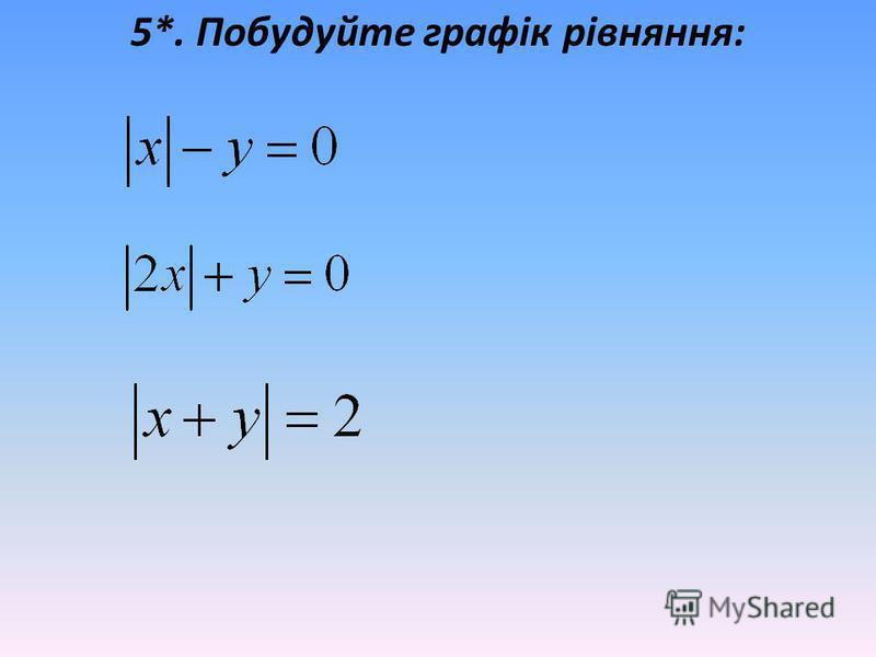 5*. Побудуйте графік рівняння: