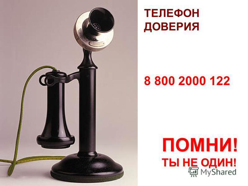 ТЕЛЕФОН ДОВЕРИЯ 8 800 2000 122 ПОМНИ! ТЫ НЕ ОДИН!