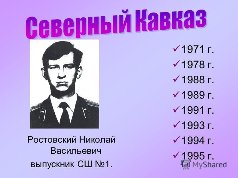 Ростовский Николай Васильевич выпускник СШ 1. 1971 г. 1978 г. 1988 г. 1989 г. 1991 г. 1993 г. 1994 г. 1995 г.