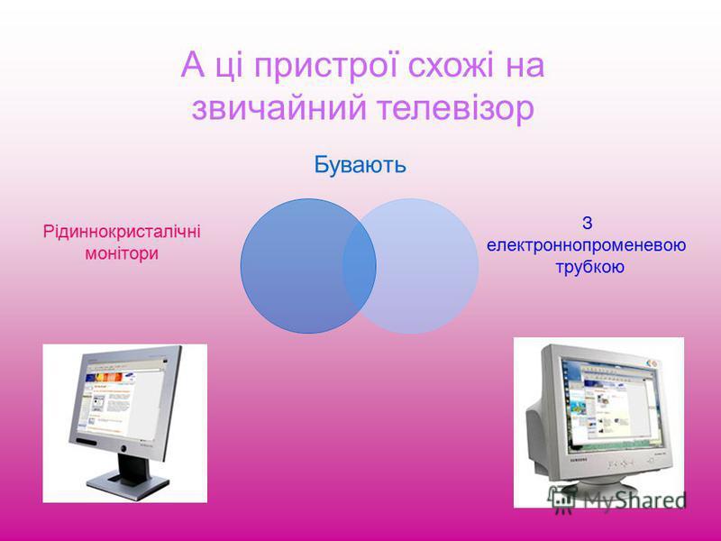 Пристрої виведення інформації: Монітор; Принтер; Плотер; Колонки.