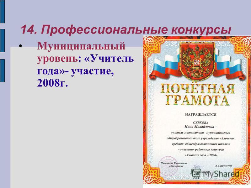 14. Профессиональные конкурсы Муниципальный уровень: «Учитель года»- участие, 2008 г.