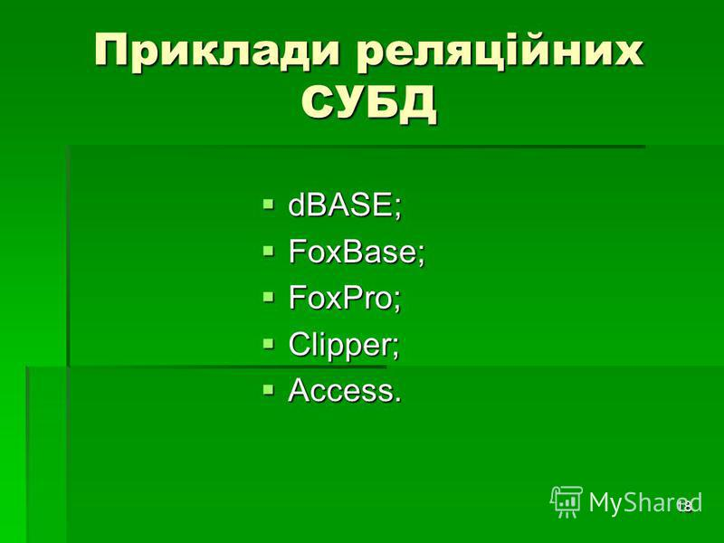 18 Приклади реляційних СУБД dBASE; dBASE; FoxBase; FoxBase; FoxPro; FoxPro; Clipper; Clipper; Access. Access.