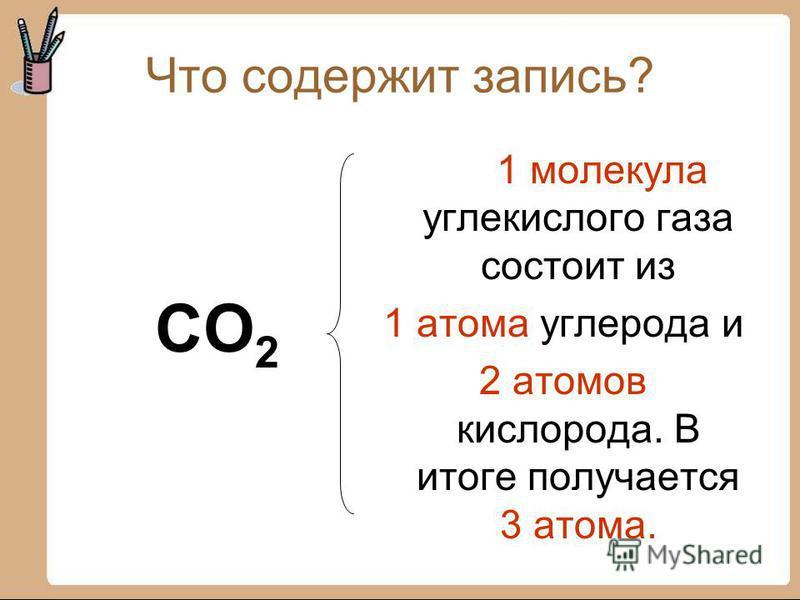 Что содержит запись? CO 2 1 молекула углекислого газа состоит из 1 атома углерода и 2 атомов кислорода. В итоге получается 3 атома.