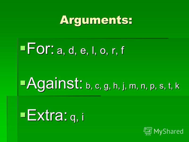 Arguments: For: a, d, e, l, o, r, f For: a, d, e, l, o, r, f Against: b, c, g, h, j, m, n, p, s, t, k Against: b, c, g, h, j, m, n, p, s, t, k Extra: q, i Extra: q, i