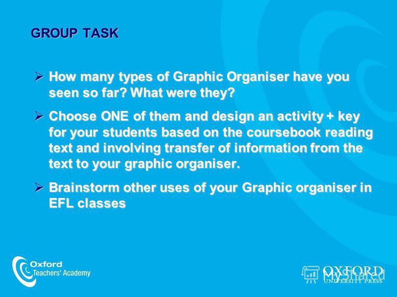 GROUP TASK How many types of Graphic Organiser have you seen so far? What were they? How many types of Graphic Organiser have you seen so far? What were they? Choose ONE of them and design an activity + key for your students based on the coursebook r