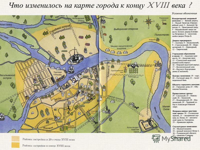 Что изменилось на карте города к концу XVIII века ?