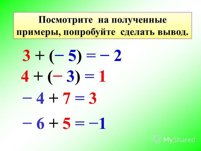 Посмотрите на полученные примеры, попробуйте сделать вывод. 3 + ( 5) = 2 4 + ( 3) = 1 4 + 7 = 3 6 + 5 = 1