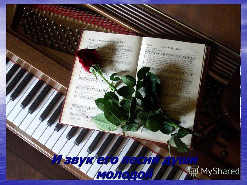 И звук его песни души молодой
