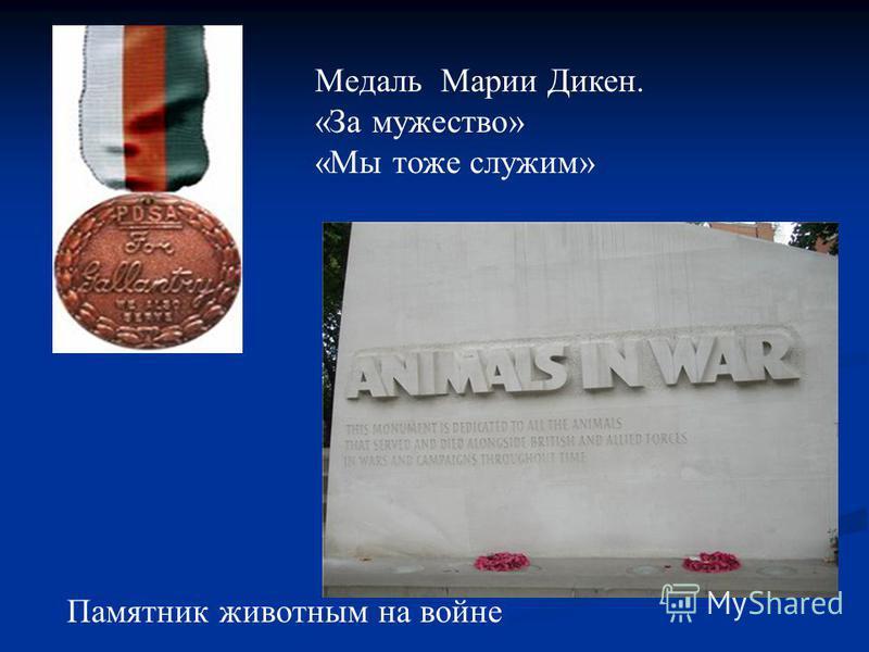 Медаль Марии Дикен. «За мужество» «Мы тоже служим» Памятник животным на войне