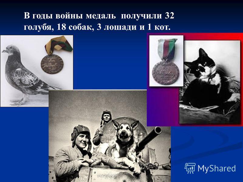 В годы войны медаль получили 32 голубя, 18 собак, 3 лошади и 1 кот.