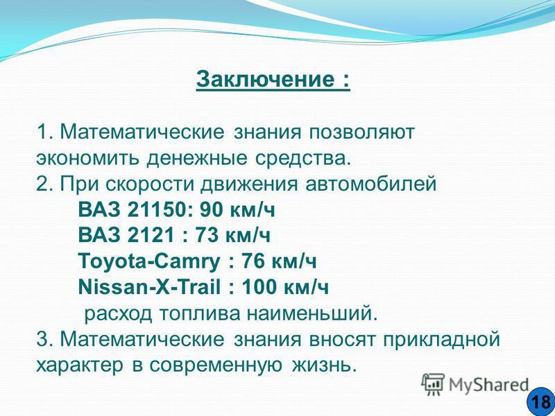 18 Заключение : 1. Математические знания позволяют экономить денежные средства. 2. При скорости движения автомобилей ВАЗ 21150: 90 км/ч ВАЗ 2121 : 73 км/ч Тоyota-Camry : 76 км/ч Nissan-X-Trail : 100 км/ч расход топлива наименьший. 3. Математические з