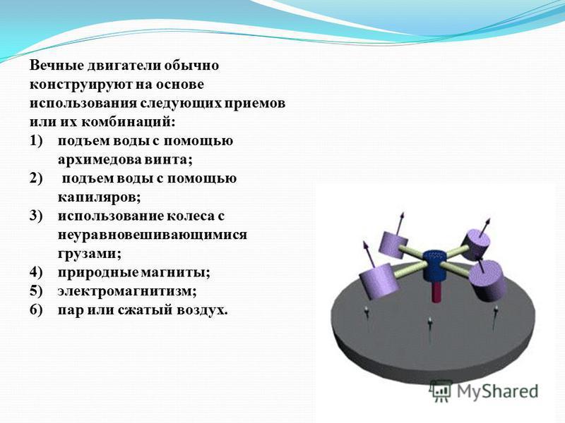 Вечные двигатели обычно конструируют на основе использования следующих приемов или их комбинаций: 1)подъем воды с помощью архимедова винта; 2) подъем воды с помощью капилляров; 3)использование колеса с неуравновешивающимися грузами; 4)природные магни