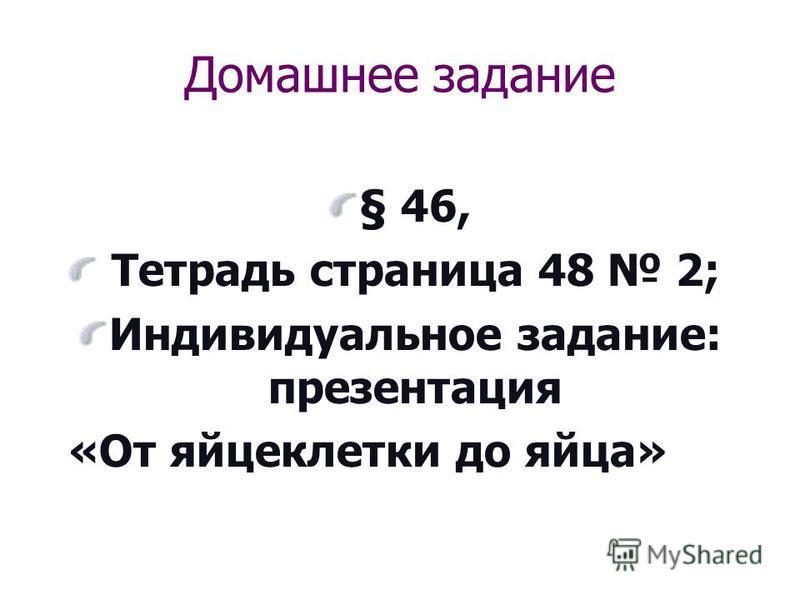 Домашнее задание § 46, Тетрадь страница 48 2; Индивидуальное задание: презентация «От яйцеклетки до яйца»