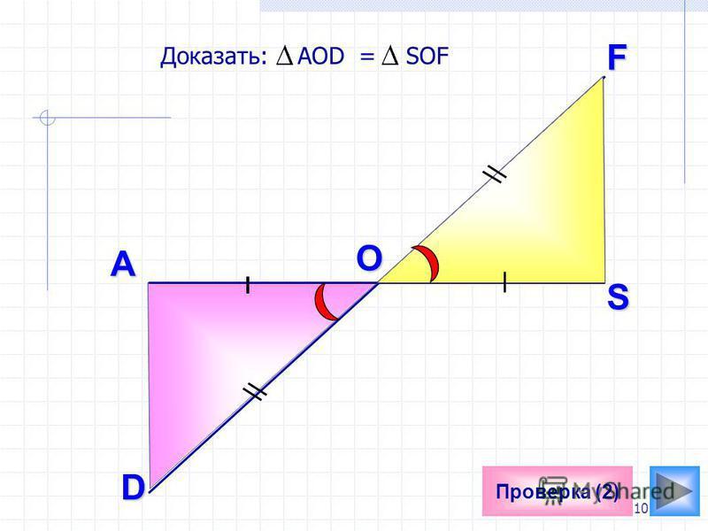 10 Проверка (2)A Доказать: AOD = SOF O F S D