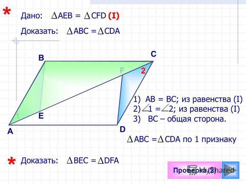 19 Проверка (2) F А D C* Доказать: АВC = CDA Дано: АЕВ = СFD B E 1)АВ = ВС; из равенства (I) 2) 1 = 2; из равенства (I) 3) ВС – общая сторона. 12(I) АВC = CDA по 1 признаку Доказать: ВЕС = DFA*
