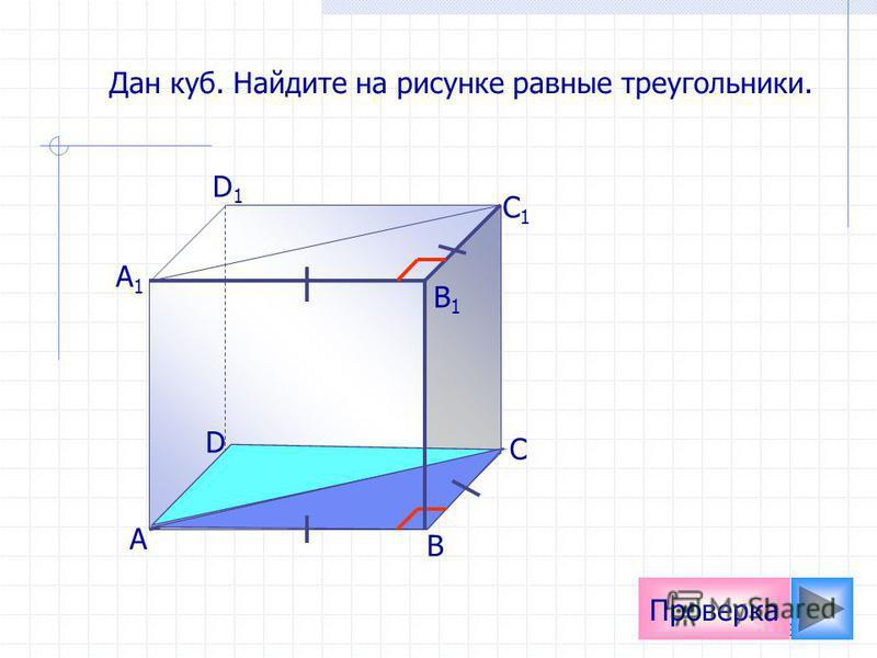 21 А D1D1 C1C1 B1B1 А1А1 D С В Проверка Дан куб. Найдите на рисунке равные треугольники.