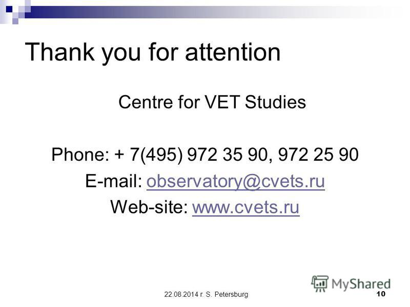 22.08.2014 г. S. Petersburg10 Thank you for attention Centre for VET Studies Phone: + 7(495) 972 35 90, 972 25 90 E-mail: observatory@cvets.ruobservatory@cvets.ru Web-site: www.cvets.ruwww.cvets.ru