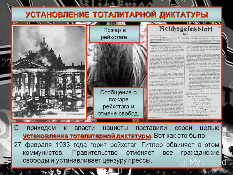 УСТАНОВЛЕНИЕ ТОТАЛИТАРНОЙ ДИКТАТУРЫ установление тоталитарной диктатуры. С приходом к власти нацисты поставили своей целью установление тоталитарной диктатуры. Вот как это было. 27 февраля 1933 года горит рейхстаг. Гитлер обвиняет в этом коммунистов.