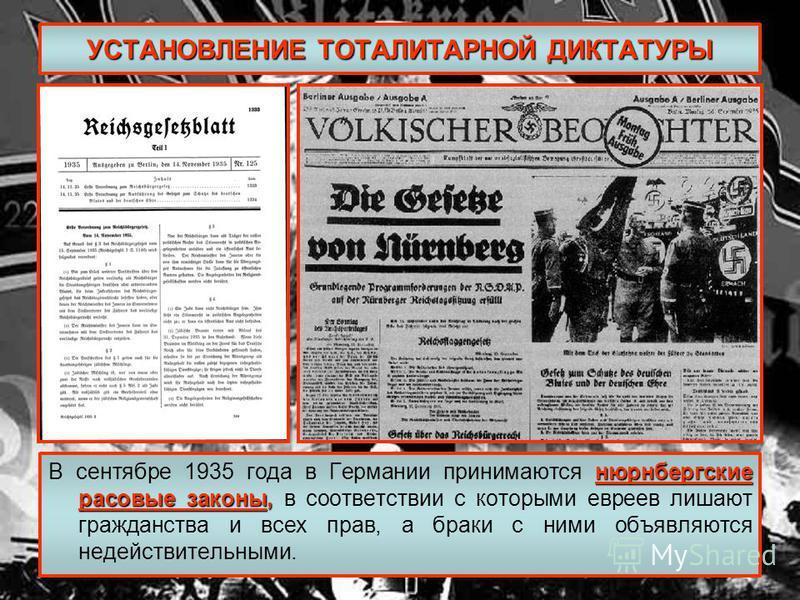 УСТАНОВЛЕНИЕ ТОТАЛИТАРНОЙ ДИКТАТУРЫ нюрнбергские расовые законы, В сентябре 1935 года в Германии принимаются нюрнбергские расовые законы, в соответствии с которыми евреев лишают гражданства и всех прав, а браки с ними объявляются недействительными.