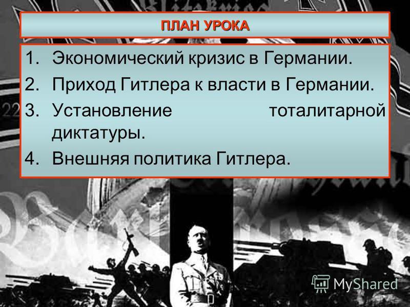 ПЛАН УРОКА 1. Экономический кризис в Германии. 2. Приход Гитлера к власти в Германии. 3. Установление тоталитарной диктатуры. 4. Внешняя политика Гитлера.