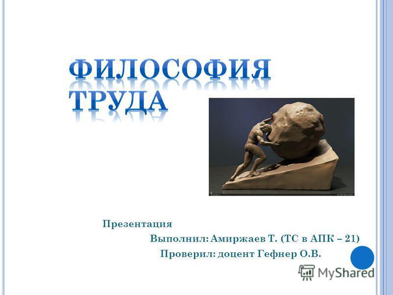 Презентация Выполнил: Амиржаев Т. (ТС в АПК – 21) Проверил: доцент Гефнер О.В.