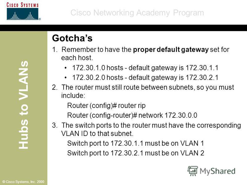 Hubs to VLANs Cisco Networking Academy Program © Cisco Systems, Inc. 2000 Gotchas 1. Remember to have the proper default gateway set for each host. 172.30.1.0 hosts - default gateway is 172.30.1.1 172.30.2.0 hosts - default gateway is 172.30.2.1 2. T