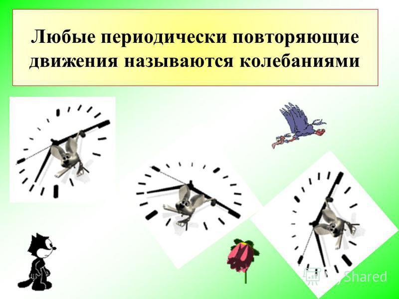 Любые периодически повторяющие движения называются колебаниями