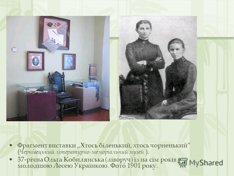 Фрагмент виставки Хтось біленький, хтось чорненький ( Чернівецький літературно-меморіальний музей ). 37-річна Ольга Кобилянська (ліворуч) із на сім років молодшою Лесею Українкою. Фото 1901 року.
