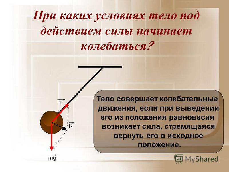 При каких условиях тело под действием силы начинает колебаться ? mg T R Тело совершает колебательные движения, если при выведении его из положения равновесия возникает сила, стремящаяся вернуть его в исходное положение.