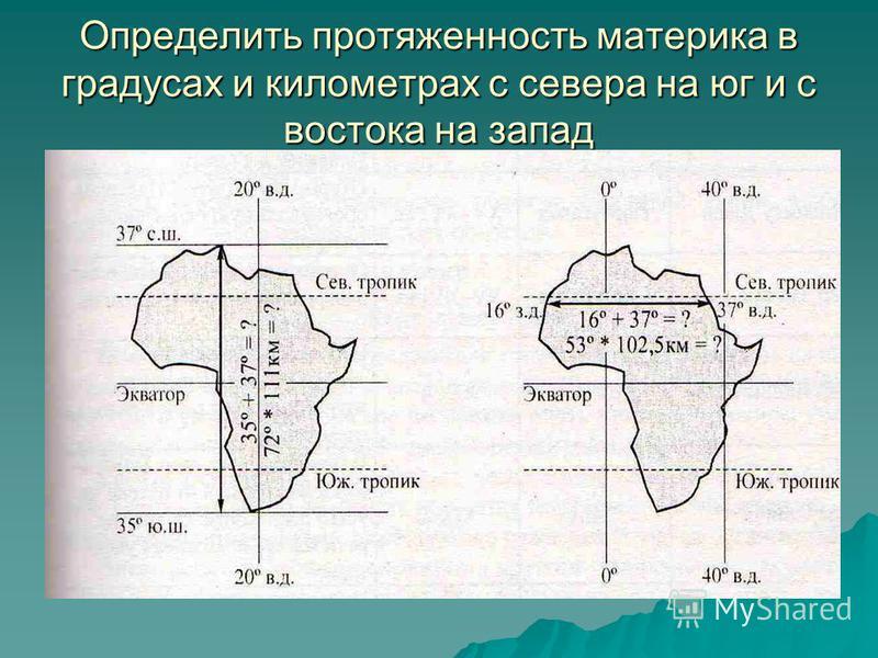 1) Определите, как расположен материк относительно экватора, тропиков, (полярных кругов) и нулевого меридиана. 2) Найдите координаты крайних точек материка в градусах и протяженность материка в километрах с севера на юг и с востока на запад. 3) В как