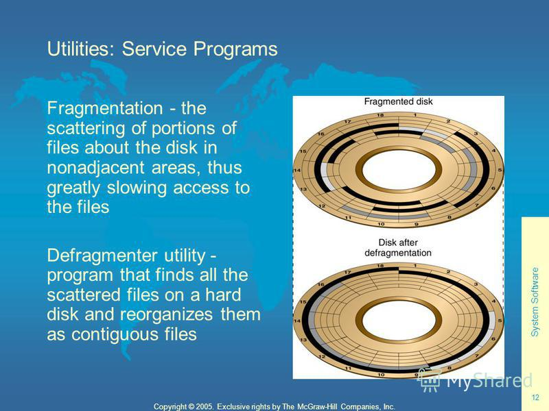 System Software 12 Copyright © 2005. Exclusive rights by The McGraw-Hill Companies, Inc. Utilities: Service Programs Fragmentation - the scattering of portions of files about the disk in nonadjacent areas, thus greatly slowing access to the files Def