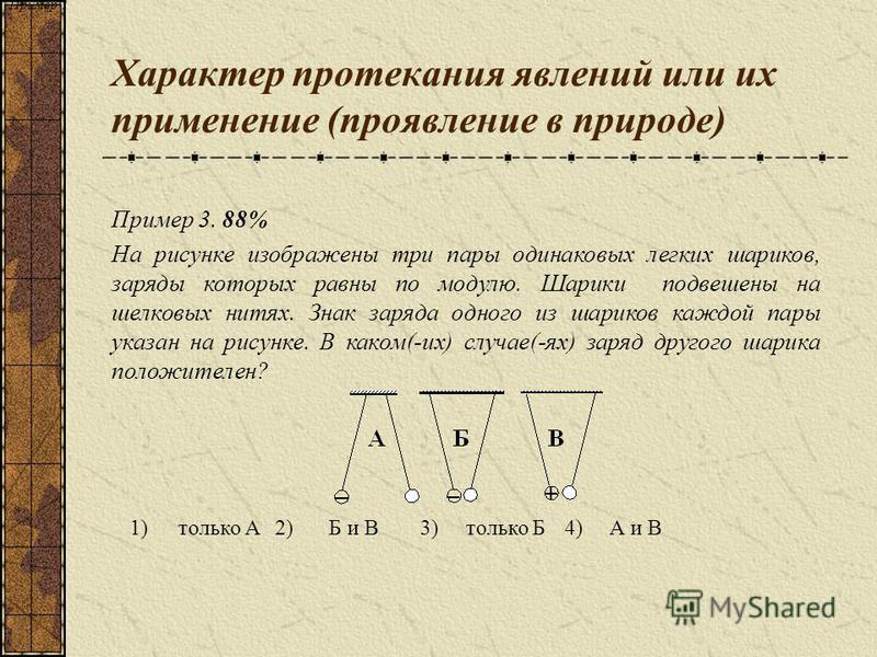Характер протекания явлений или их применение (проявление в природе) 1)только А2)Б и В3)только Б4)А и В Пример 1 Пример 3. 88% На рисунке изображены три пары одинаковых легких шариков, заряды которых равны по модулю. Шарики подвешены на шелковых нити