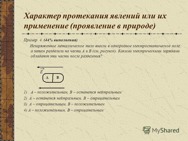 Характер протекания явлений или их применение (проявление в природе) Пример 4. (44% выполнения) Незаряженное металлическое тело внесли в однородное электростатическое поле, а затем разделили на части А и В (см. рисунок). Какими электрическими зарядам