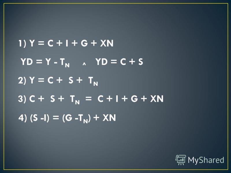 1) Y = C + I + G + XN YD = Y - T N ^ YD = C + S 2) Y = C + S + T N 3) C + S + T N = C + I + G + XN 4) (S -I) = (G -T N ) + XN