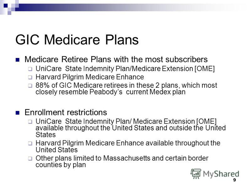 9 GIC Medicare Plans Medicare Retiree Plans with the most subscribers UniCare State Indemnity Plan/Medicare Extension [OME] Harvard Pilgrim Medicare Enhance 88% of GIC Medicare retirees in these 2 plans, which most closely resemble Peabodys current M