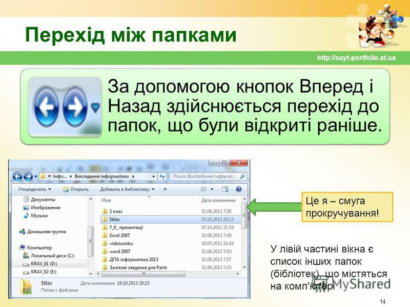 Перехід між папками За допомогою кнопок Вперед і Назад здійснюється перехід до папок, що були відкриті раніше. 14 http://sayt-portfolio.at.ua У лівій частині вікна є список інших папок (бібліотек), що містяться на комп'ютері Це я – смуга прокручуванн