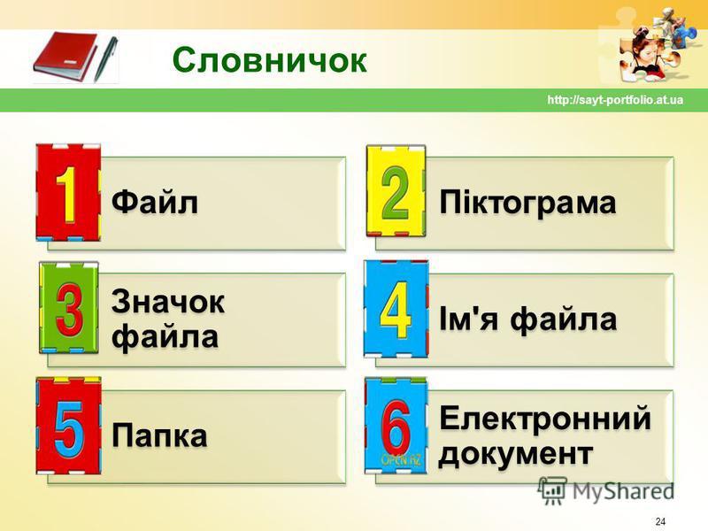 Словничок ФайлПіктограма Значок файла Ім'я файла Папка Електронний документ 24 http://sayt-portfolio.at.ua