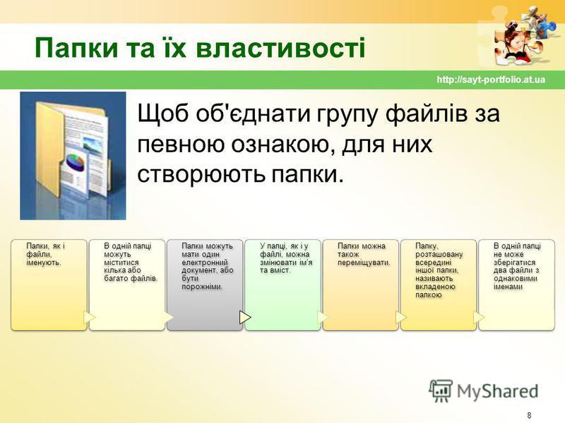 Папки та їх властивості Щоб об'єднати групу файлів за певною ознакою, для них створюють папки. 8 http://sayt-portfolio.at.ua Папки, як і файли, іменують. В одній папці можуть міститися кілька або багато файлів. Папки можуть мати один електронний доку