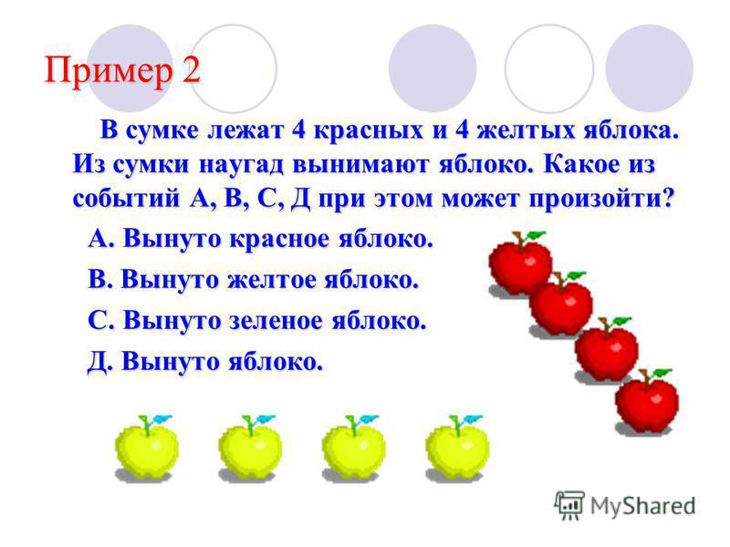 Пример 2 В сумке лежат 4 красных и 4 желтых яблока. Из сумки наугад вынимают яблоко. Какое из событий А, В, С, Д при этом может произойти? В сумке лежат 4 красных и 4 желтых яблока. Из сумки наугад вынимают яблоко. Какое из событий А, В, С, Д при это