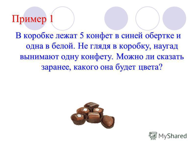 Пример 1 В коробке лежат 5 конфет в синей обертке и одна в белой. Не глядя в коробку, наугад вынимают одну конфету. Можно ли сказать заранее, какого она будет цвета?